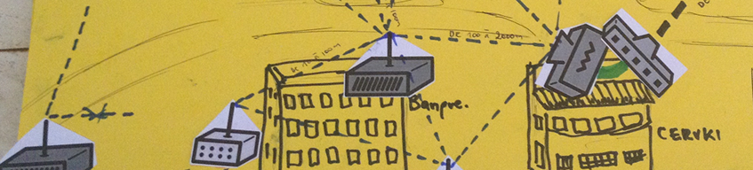 hand-drawn community wireless system with routers on top of buildings