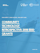 Community Technology Retrospective cover: blue-tinted photo of a person diagraming a community wireless network, with white title text overlayed