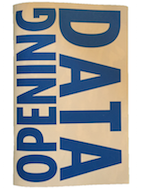 """Opening Data Zine cover - white background with """"opening data"""" in blue text"""